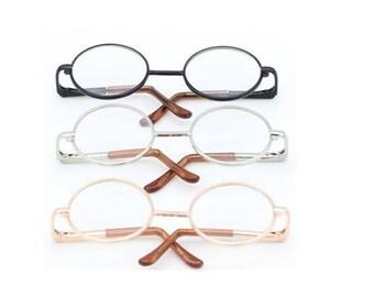 6 Pcs/Lot 8CM  Round Frame Clear Lens Glasses Eyewear for BJD Dolls,Metal Toy Glasses for Blythe,American Girl Doll Glasses 3 Colors