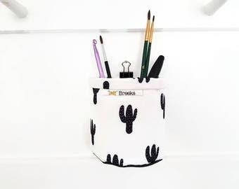 Mini Storage Bins,wall grid storage,Cacti,Cactus,Monochrome,organiser bin,small storage,storage basket,black and white.