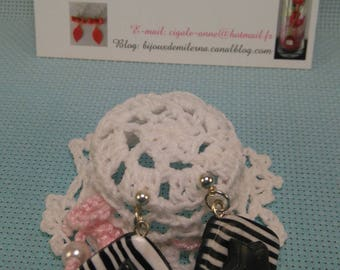 #67 # polymer earrings, black and white striped square