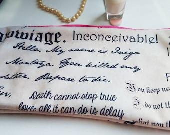 Princess Bag, Princess Bride Quote Zipper Makeup Bag, Wet Bag, Bridal favor, Bride Gift,  Zippered Bag, Cosmetic Case, Makeup Bag, pink bag