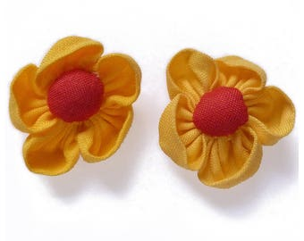 lot 2 3.5 cm yellow and Red - set no. 160707023 fabric flower