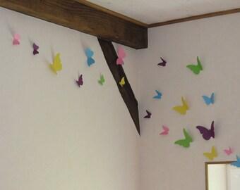 Flight of butterflies - set of 50 BUTTERFLIES - multi color scrapbooking paper