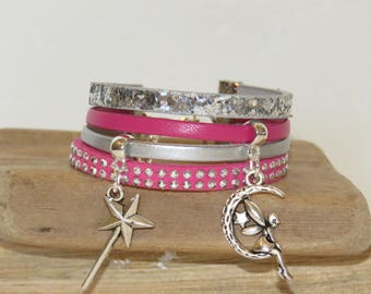 "Cuff Bracelet for girl ""fairy and wand"" leather glitter, leather, suede - Fuchsia color"