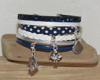 "blue leather Cuff Bracelet Navy polka dot white, silver and white - crab, fish and shell ""seaside"" charms"