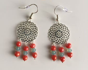 Coral and blue beads silver pinwheel earrings