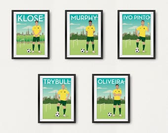 SET OF 3 A5. Retro Norwich Player Poster. Carrow Road. Travel Poster Style. Fan Art. Canaries