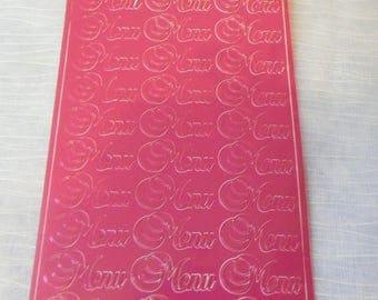 "Peel off, stockers ""MENU"" - size 10 x 21 cm, pink"