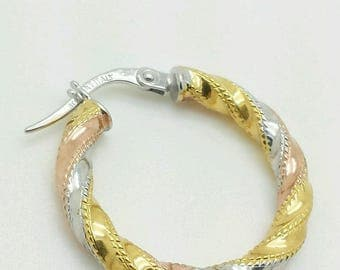14k Gold Tri Color Italian Twist High Polish Hoop Earrings 3mm x 20mm