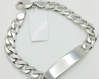 "925 Solid Sterling Silver Miami Cuban ID Bracelet 8.5"" 10mm"