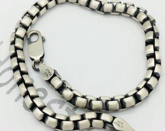 Italian 925 Solid Sterling Silver  Brushed Gun Metal Finish  Mens Round  Box Bracelet Boyfriend Gift