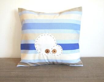 Housse de coussin 40 x 40 cm, taie d'oreiller, œil, yeux, monstres, monster, collection bord de mer, tissu rayé bleu
