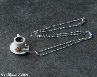 Breakfast Fimo 925 sterling silver necklace