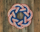 Stars and Stripes Rope Wreath, Upcycled lobster rope, Maine made, Americana decor, Patriotic wreath, Independence Day decoration