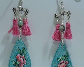 Earrings, PomPoms and tassels handmade.