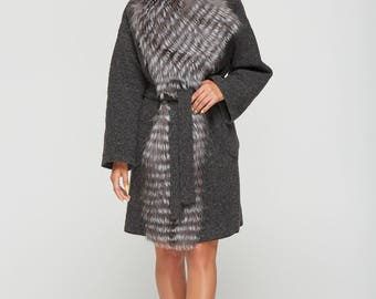 Wool Coat with Silver Fox