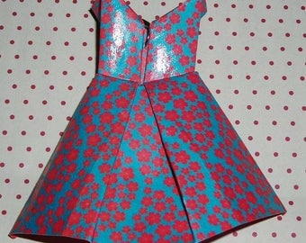 Collar Dress in pink and blue origami (origami dress necklace)