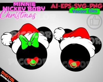 Baby Mickey and Minnie christmas Ear Hat SVG, Disney Christmas Hat SVG, Disney Cut Files in svg png eps ai Printable Clipart a santa hat