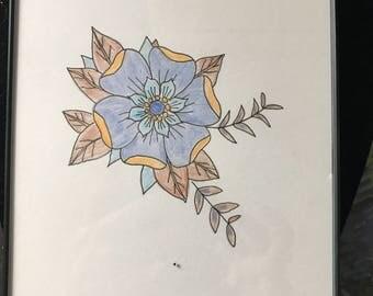 """Flower drawing framed 5x7"""""""
