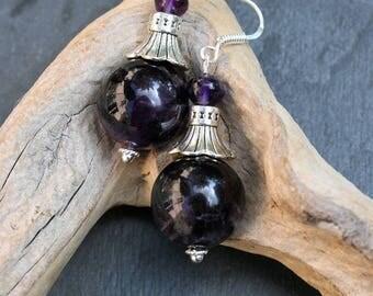 Amethyst earrings, 925 Silver hooks