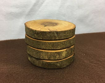 Handmade, locally sourced wooden coasters. Set of 4.