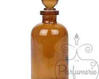 3.4 oz Amber GLASS APOTHECARY Old World Style Bottle with Glass Ball Top Closure For Essential Oils, Perfume, Potions, Alchemy, Amulet