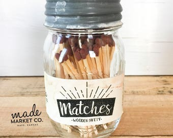 Brown Tip Colored Matches. Match Sticks Decorative Mason Jar. Farmhouse Rustic Home Decor Unique Gifts for her Best Seller Most Popular Item