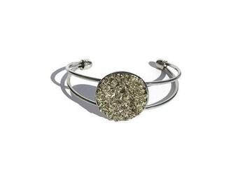 druzy bracelet, chunky silver druzy, drusy jewelry, under 20 dollars, geode, geode jewelry, cuff bracelet, crystal bracelet, silver bracelet