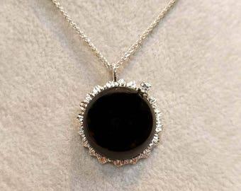 Solar Eclipse Pendant 2017 14k Gold - Large with a Diamond