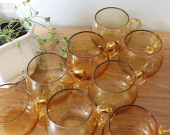 vintage blown glass cups / amber punch glass / coffee/ tea cups / 8 piece set * two available*