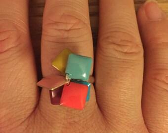 Multicolored square fashion ring