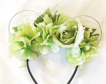 Green Floral Wire Mouse Ears with Wire Crown