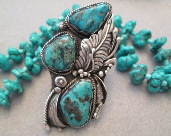 """Museum Worthy>>Massive Navajo Sterling & genuine Nevada Blue Turquoise Ring>> 3 1/4"""" long>>Detailed Silver Work>Handcrafted>Amazing! -JNR024"""