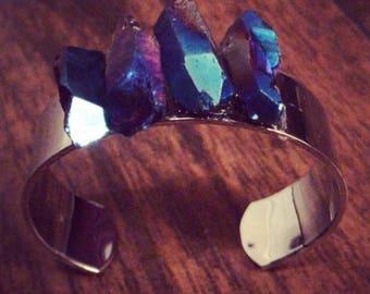 Titanium Aura Quartz crystal bangle