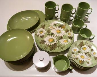 Mid Century Oneida Melamine Dinnerware Daisy Pattern Avocado Green 54 Piece Set