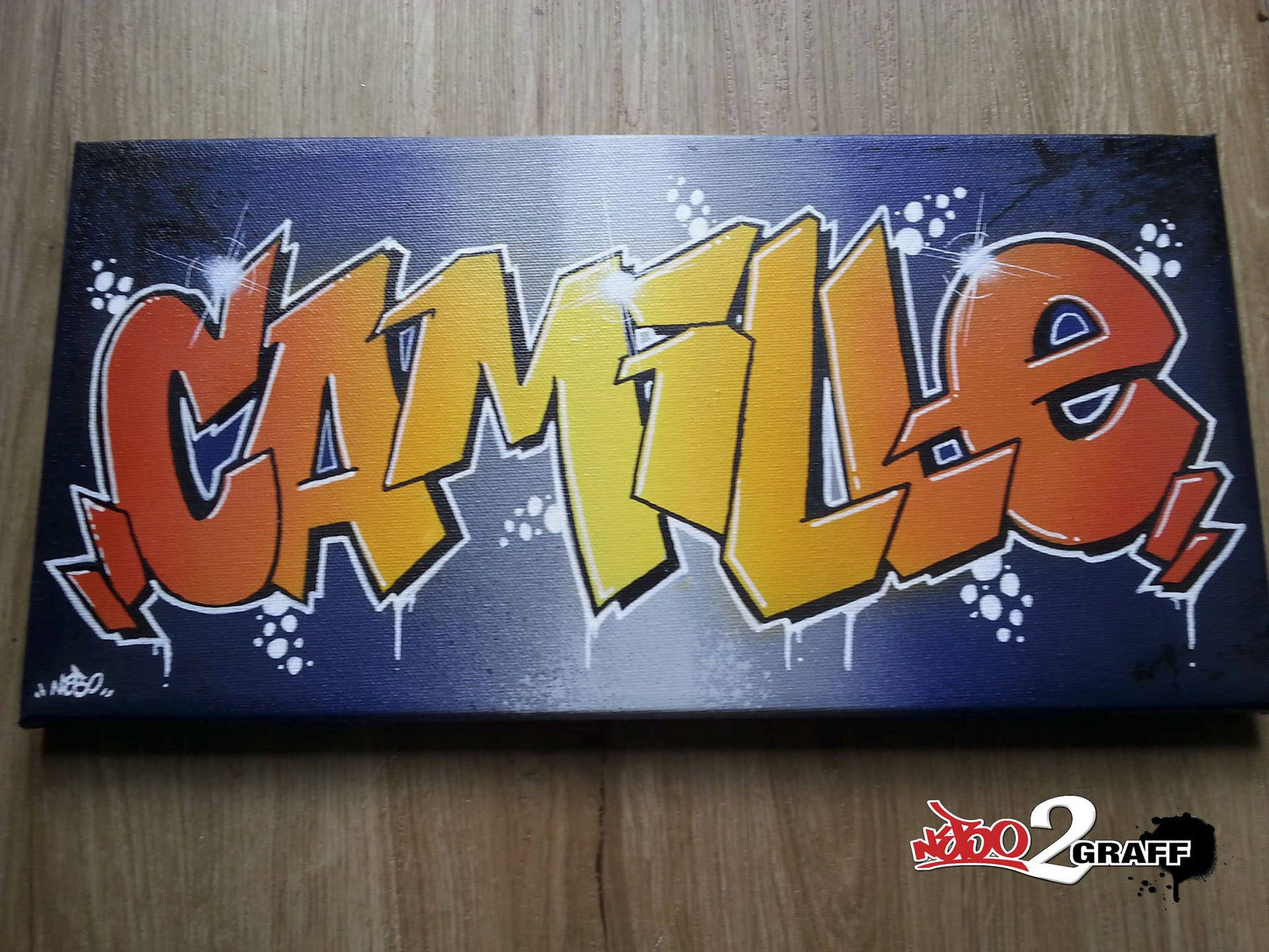 tableau toile graffiti prénom idée cadeau originale graff déco