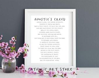 Apostle's Creed - Catholic Church Prayer - RCIA Sponsor Gift - Confirmation Wall Art - Religious Home Decor