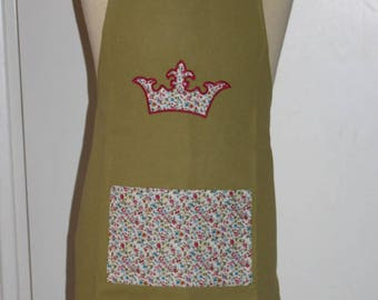 Cooking apron child 4-6 years pattern green wreath