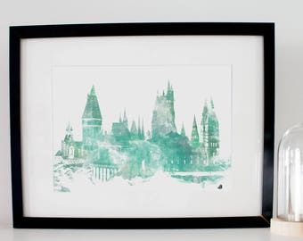 Poster Poster Hogwarts - Hogwarts. Choose your house! Digital fashion watercolor, watercolor painting. For Harry Potter's fans!
