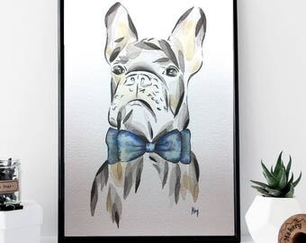 French Bulldog Dog Print A4 A3