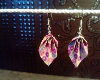 """Pink origami """"leaves"""" earrings"""