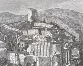 Convent of Mar Saba, Palestine 1882 - Old Antique Vintage Engraving Art Print - Buildings, Bricks, Countoured, Arches, Steps, Mountain