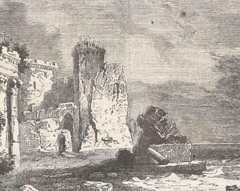 Ruins of Caesarea, Palestine 1840 - Old Antique Vintage Engraving Art Print - Ruins, Walls, Boulders, Rocks, Columns, Arch, Entrance
