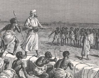 Somalia 1885, Stations threatening the camp, Old Antique Vintage Engraving Art Print, Man, Arab, Black, Weapon, Bow, Arrow, Soldier, Battle