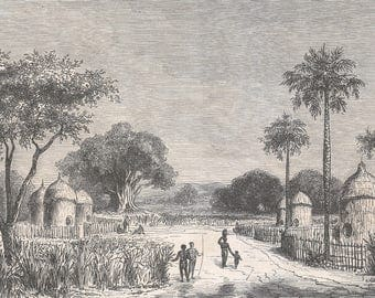 Sudan 1860, Belenia, Berri village on the White River, Old Antique Vintage Engraving Art Print, Man, Woman, Child, Stick, Fence, Tree, Palm