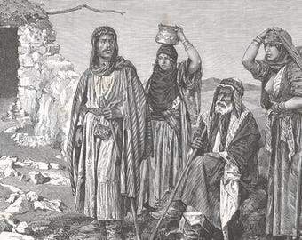 Palestine 1882, Arabs Adouans, Old Antique Vintage Engraving Art Print, Arab, Man, Woman, Elderly, Family, Baby, Robe, Pot, Stick, House