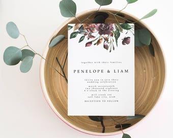 Floral Wedding Invitation   Simple Wedding Invitation