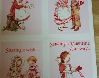 Vintage Greeting Card - 1990 American Greetings Holly Hobbie  Classroom Valentines Sheet of 4 Valentines