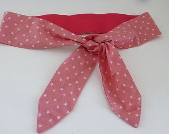 Pink belt tie up fabric, reversible, with little stars