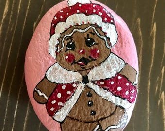 Gingerbread Doll Painted Rock Paperweight