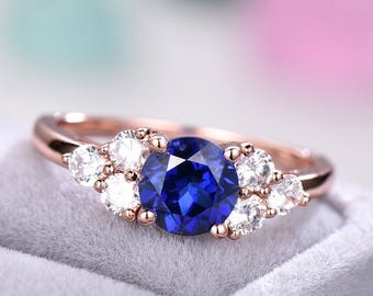 Lab Blue Sapphire Cluster CZ Diamond Engagement Ring 925 Sterling Silver Rose Gold Antique Women Bridal Set Anniversary Gift Promise for Her